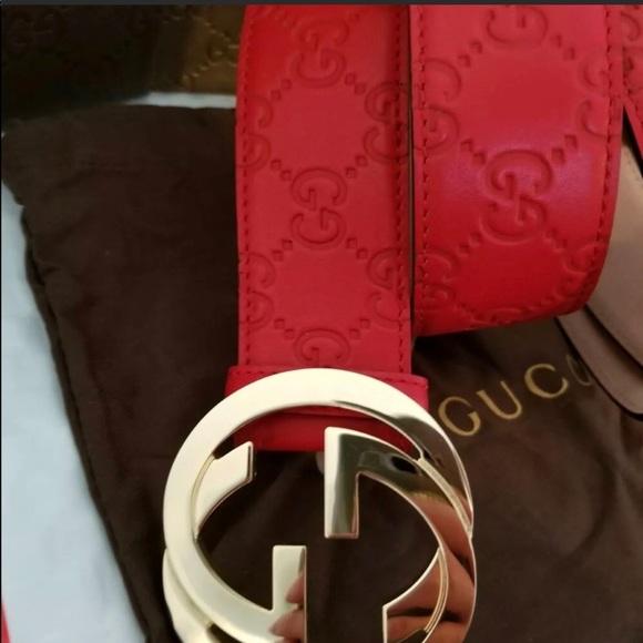 3a084d6a812 Authentic Red Men s Guccissima Belt